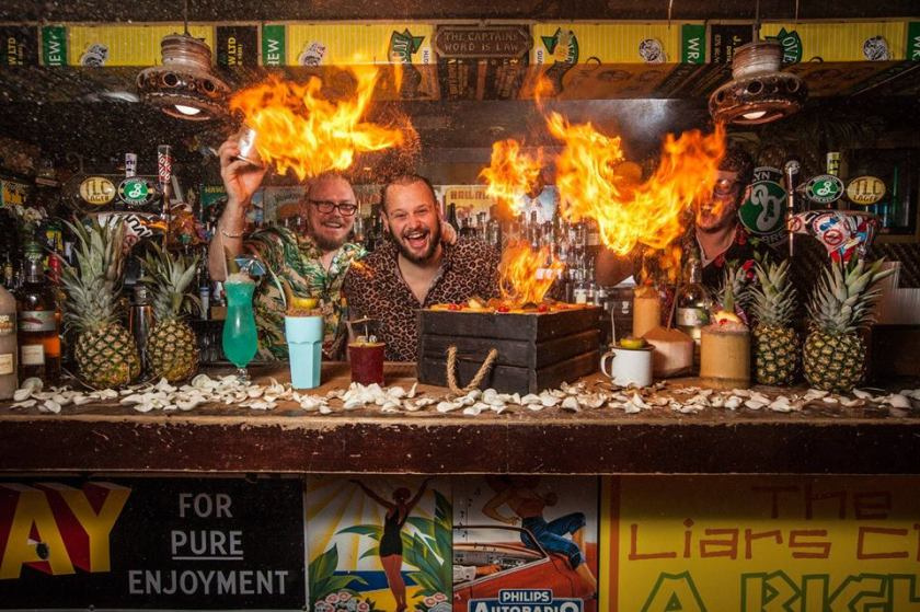 Liars Club Manchester bartenders and fire