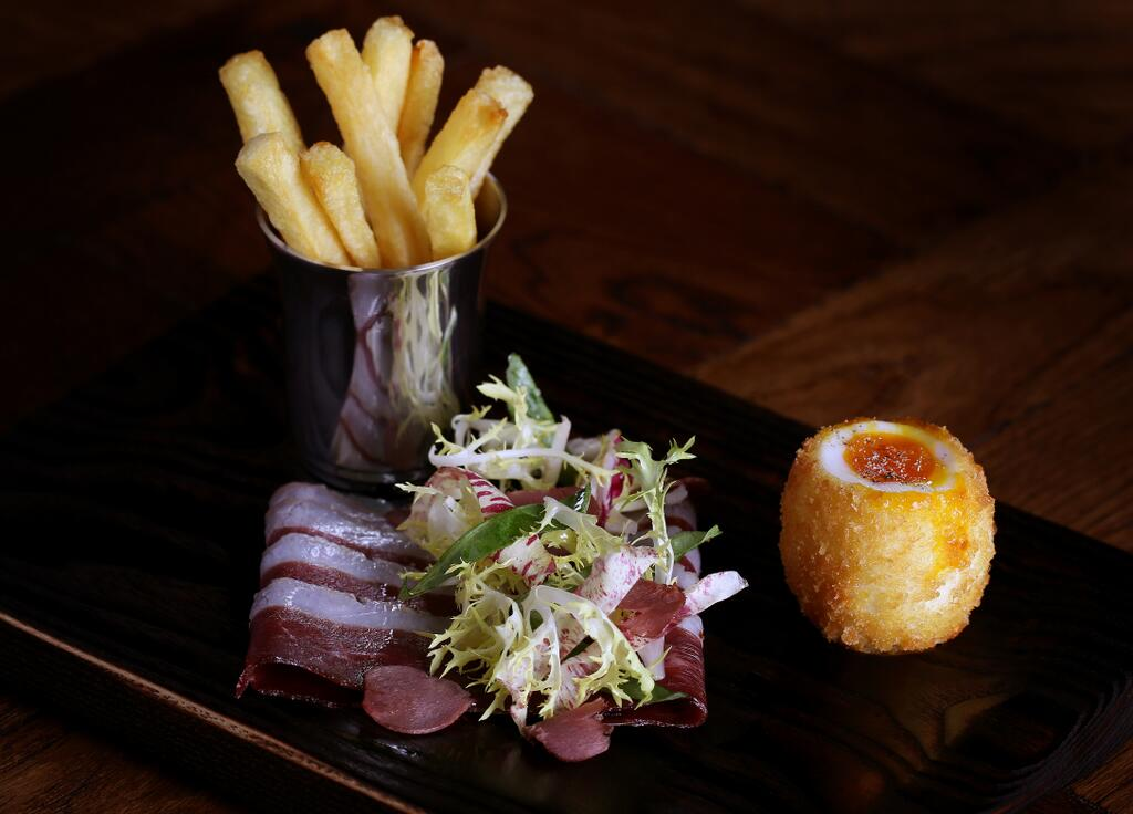 The Blind Pig at Social Eating House Duck smoked ham egg and chips